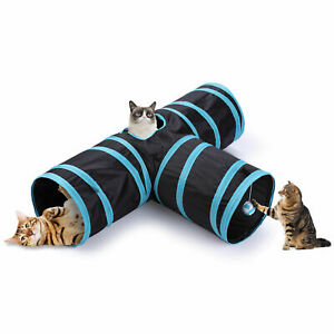Pop Up Cat Tunnel 3 Way Pet Toy Collapsible Play Tube With Dangling Ball