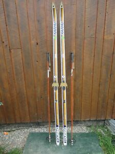 """GREAT Ready to Use Cross Country 77"""" KARHU 200 cm Snow Skis + Poles"""