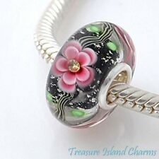 PINK FLOWER MURANO GLASS w/ CZ CRYSTAL .925 Sterling Silver EUROPEAN Bead Charm