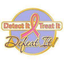 Breast Cancer Awareness Lapel Pin Detect It Treat It Defeat It Pink Ribbon New