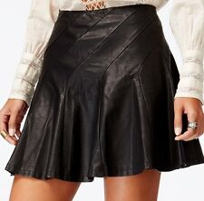 """Nwt Free People Women's """"About A Girl""""  Faux Leather Skirt Size 10 Black"""