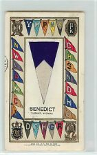 "1908 Printed Postcard with Attached Felt Pennant ""Benedict"", Laramie WY, Posted"