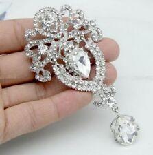 Fashion Jewelry Rhinestone Silver Crystal Wedding Brooch Pin Flower Bouquet gift