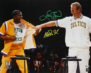 Magic Johnson & Larry Bird Authentic Signed 16x20 Retirement Photo BAS Witnessed