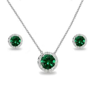 925 Silver Simulated Emerald and White Topaz Round Halo Necklace & Earrings Set