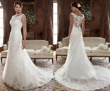 New White/Ivory Lace Wedding Dress Bridal Gown Custom size 6-8-10-12-14-16++++