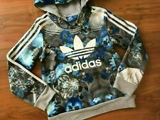 GIRLS Blue Grey FLORAL ADIDAS ORIGINALS HOODIE (age7-8) *GREAT COND*