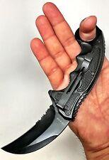 TACTICAL COMBAT KARAMBIT NECK KNIFE Survival Hunting BOWIE FOLDING Blade DOP BK