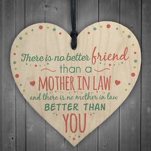Mother In Law Hanging Heart Friendship Birthday Gift Sign Mothers Day Thank You