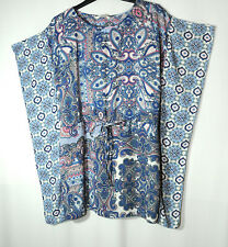 BLUE WHITE LADIES CASUAL TUNIC TOP BLOUSE GEORGE PAISLEY SIZE SMALL