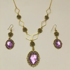 VICTORIAN STYLE - DIAMOND ROSE - lilac purple CRYSTAL GOLD PLATE NECKLACE SET DR