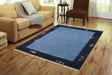 Indian Handmade Carpet Wool Hand Knotted Large Rug Trible 4X6 ft. Blue Area Rugs