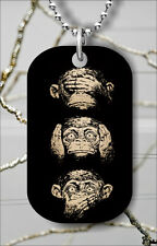 MONKEYS 3 WISE ATTITUDE DOG TAG NECKLACE PENDANT FREE CHAIN -b4t5