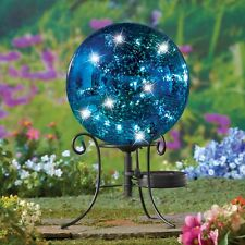 Solar Lighted Blue Mercury Glass Look Garden Gazing Ball with Metal Stand