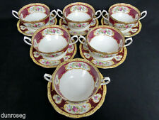 6 LADY HAMILTON SOUP COUPES & SAUCERS, 1960s-70s, MADE IN ENGLAND, ROYAL ALBERT