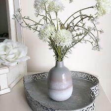 Grey & White  Stoneware Vase - Dip Glazed Ombre - Home Decor Decorative Bud Vase