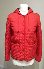 Topshop Red Quilted Jacket With Hood, Size 8