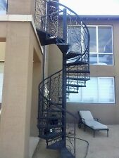 Wrought iron ornate bal'trade 1600 dim,$1960/M height spiral staircase