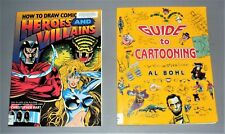 Fun How to Guides to Cartooning & Drawing Comicbook Heroes and Villains 2 Books