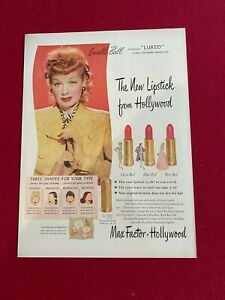 """1947, Lucille Ball, """"Max Factor Make Up"""" Ad (Scarce / Vintage)"""