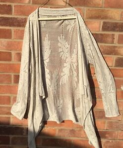 MADE IN ITALY,LAGENLOOK,BEIGE LACE WATERFALL,CARDIGAN//TOP~12-14
