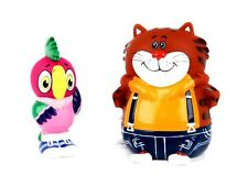 Kesha the Parrot and fat Cat. Squeaky rubber bath toy set.