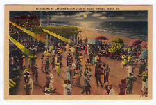 1930-1945 Virginia Beach VA Dancing at the Cavalier Club Night Linen Postcard