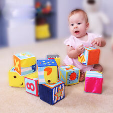 6PCS/SET Baby Cloth Building Blocks Rattle Soft Play Cubes Early  Infant Toy