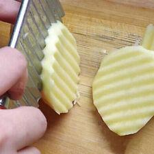 Potato Chip Fruit Slicer Crinkle Cut Knife Wavy Blade French Fry Cutter Bluelans