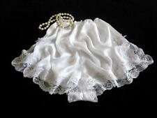 Lacy White Satin French Knickers L NEW Soft Silky Drapey Panties Vintage Style