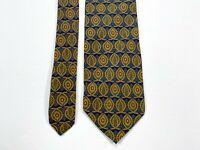 Valentino Cravatte Men's Blue Leaf Pattern Tie 100% Silk Made in Italy