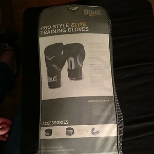 🥊 Everlast Pro Style ELITE Gloves 16oz Black Training Boxing MMA Strap