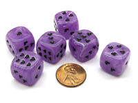 Pack of 6 Heart Cirrus 16mm D6 Chessex Dice - Purple with Black Pips