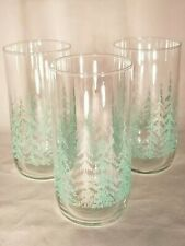 3 Vintage Mcm Libbey Frosty Pine Evergreen Tree Green Glasses Tumblers