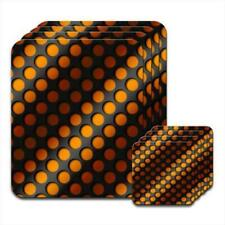 Abstract 3D Wave Background with Orange & Black Coaster & Placemat Set