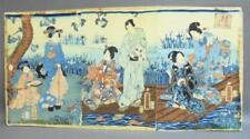 More details for woodblock triptych genji returns to eight bridges  其由縁国の八つ橋  utagawa fusatane