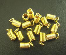 LOT de 40 EMBOUTS RESSORTS DORE cordon cuir fil lacet env. 8 x 4mm SANS NICKEL