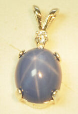 Sterling Silver, Cornflower Blue LINDE STAR SAPPHIRE, ACCENTED  PENDANT