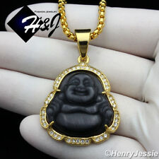 "20""MEN Stainless Steel 3mm Gold Box Link Chain Black Onyx BUDDHA Pendant*B117"