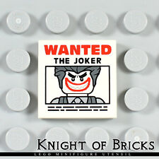 Lego MINIFIGURE 2x2 FLAT TILE with ' WANTED THE JOKER ' Poster