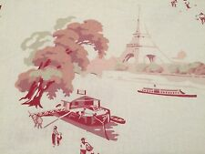 Pottery Barn DUVET COVER Bateau Red Toile Paris French Country LINEN King Size
