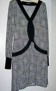 Wayne Cooper Long Sleeve Black & White Dress - Size 12