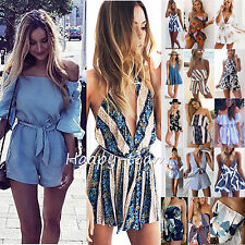Womens Summer Holiday Mini Playsuit Ladies Jumpsuit Beach Shorts Dress 6 - 16
