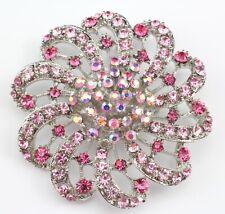 Pink Fancy Austrian Rhinestone Crystal Brilliant Bridal Wedding Brooch Pin