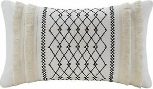 INK + IVY Bea Decorative Pillow White Canvas Black Embroidered Beige Fringe New