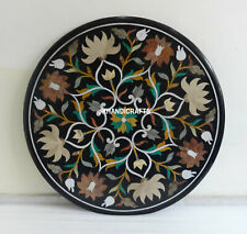 "36"" Black Marble Table Top Dining Coffee Inlaid Pietra Dura Gifts Home Decor Art"