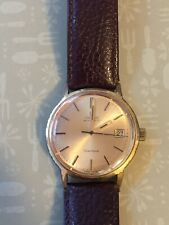 Vintage Gents Omega Geneve Gold plate Automatic Watch With Leather Strap