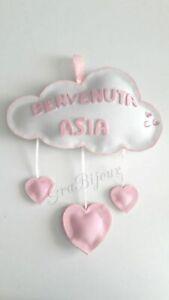 Fiocco nascita bimba bimbo nuvola con cuori gomma eva personalizzato con nome