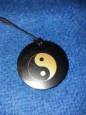 """Genuine Shungite Pendant polished circle ''Yin Yang"""" stone health EMF protect"""