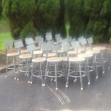 "24 National Public Seating Adjust Seats 19"" -27"" Metal Stools W /Backs- No. 6218"